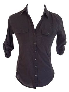 WOMEN'S HALF SLEEVE BLACK BUTTON DOWN COLLAR SHIRT SEMI-STRETCH SIZE SMALL #ACTIVE #ButtonDownShirt #Casual