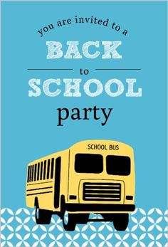 Blue Patterned School Bus Back To School Party Invitations by PurpleTral.com. #backtoschoolpartyinvitations