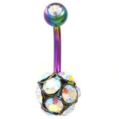 BodyDazz.com - Multi-Gem Crystal Ball Rainbow Color  Belly Ring