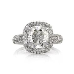 4.42ct Cushion Cut Diamond Engagement Anniversary Ring available at MarkBroumand.com #3443-1
