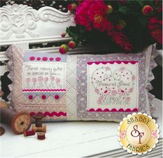 """The Rivendale Collection - Treasured Friend: This pretty pattern is a part of The Rivendale Collection by Sally Giblin. Pattern includes instructions for stitchery, appliqué and cushion. Finished size is 13 1/2"""" x 25"""".The hand embroidered verse says: There's nobody quite as special as you..."""