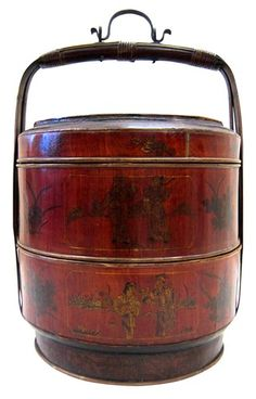 Antique Chinese Painted Basket Food Container