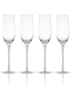 kate spade new york Set of 4 Larabee Dot Flutes - Shop All Glassware & Stemware - Dining & Entertaining - Macy's
