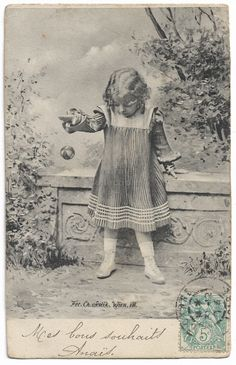 Edwardian Little Girl Throwing Ball Toy, ca 1905 antique postcard, children fashion by maralecollectibles on Etsy Vintage Photographs, Vintage Images, Cute Little Girls, Photo Postcards, Girl Photos, Vintage Black, Things That Bounce, Kids Fashion, Toy