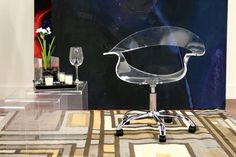 NEW Elegant Kerr Acrylic Swivel Chair in Clear [ID 43484] Unique Design Modern #Modern