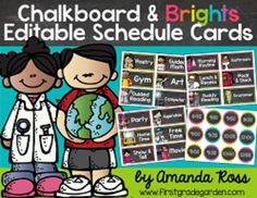 Chalkboard & Brights Editable Schedule Cards {with Matching Time Cards} Classroom Signs, Classroom Setting, Classroom Setup, First Grade Organization, Classroom Organisation, Class Management, Classroom Management, Schedule Cards, First Grade Classroom