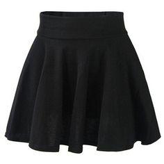 FUNOC Fashion Womens Ladies High Waist Plain Pleated Flared Mini... ($5.99) ❤ liked on Polyvore featuring skirts, mini skirts, bottoms, saias, black, high waisted flare skirt, flared skater skirt, blue skirt, mini skater skirt and blue mini skirt