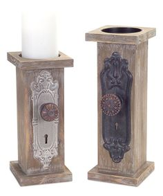 Door Knob Candle Holder - Set of Two Love the vintage look of these doorknobs on the candlesticks for farmhouse style home decor.