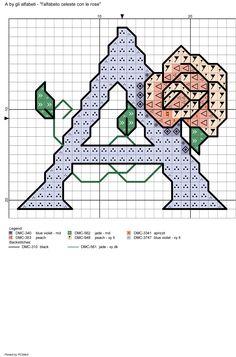 alfabeto celeste con le rose: A