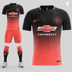 FootballFactory& Manchester United kit concept features a bold design for the Premier League giant, made by Nike. World Football, Football Kits, Football Jerseys, Camisa Nike, Soccer Outfits, Soccer Skills, Soccer Tips, Soccer Uniforms, Play Soccer