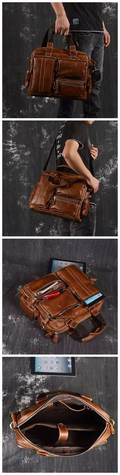 Men Leather Briefcase Travel Bag Leather Laptop with Shoulder Strap