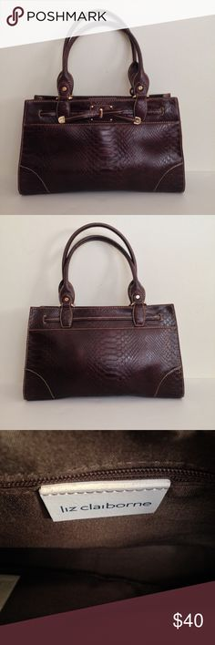 """Liz Claiborne Montclair Python Print 👜, Chestnut Liz Claiborne Montclair Python Print Satchel, Chestnut Exterior:  Synthetic leather Interior:  Fabric lined  * Inside tab w/ magnetic snap closure. * Exterior pocket w/ snap closure.   * Interior features 2 zippered compartments and 3 multi-functional slip pockets in b/w. * Holds wallet, 🕶, 📱, 🌂 * Platform bottom w/ feet to protect 💼.  All measurements are approx.: * Dual handle drop is 9"""" (wear as a shoulder 💼). * 14"""" L X 4 1/2"""" W X 8""""…"""