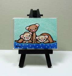 Ferrets ACEO Art Print from Original Painting - Shelly Mundel #FerretArt