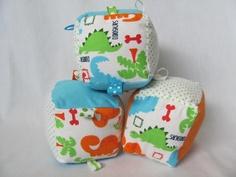 Baby Boy Soft Block Toy - Blue Green Orange Dinosaur. $12.00, via Etsy.