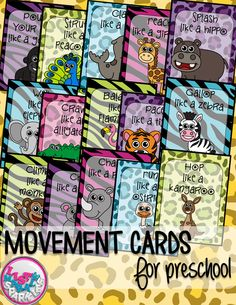These zoo animals themed movement cards will keep your students active while they're excited for the weather to warm up! Keep those excited little ones busy indoors when it's too rainy to go outside! All while teaching them about different actions, animal names and improving their gross motor skills! Print and cut these out, laminate them and keep them all together on a metal ring. Put on some music and let your kids dance!