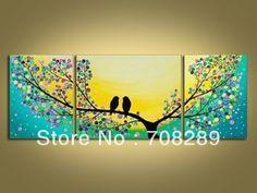 Enorme 150*60 cm lovebirds 100% pintado a mano de arte de la pared pintura al…