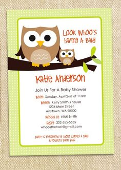 Owl baby shower invite ideas