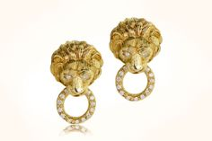 As a part of our unparalleled collection of fine and rare antique jewelry, these authentic VCA lion door knocker earrings reflect a classic elegance. Diamond Gemstone, Diamond Studs, Antique Jewelry, Vintage Jewelry, Lion Door Knocker, Classic Elegance, Grace Kelly, Rare Antique, Wearable Art