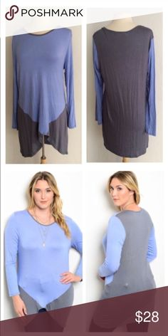 "(Plus) Blue/ gray top Blue/ gray top  Length- 34""  Materials- 95% rayon/ 5% spandex. Colorblock top with tons of stretch! Semi lightweight and very breathable. This top can easily be dressed up or dressed down.                                    Availability- 2x•3x • 1•1 ⭐️This item is brand new from manufacturer without tags. .  🚫NO TRADES 💲Price is firm unless bundled 💰Ask about bundle discounts Tops"