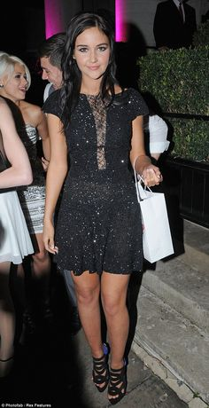 Sparkles: Jacqueline Jossa looked chic in her pretty Jacques Azagury dress with ShoeMint high heels