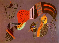 "Vasily Kandinsky ""Tempered Elan"" 1944 Oil on cardboard Musée National d'Art Moderne, Centre Georges Pompidou, Paris 16 3/8 x 22 7/8"" (42 x 58 cm)"