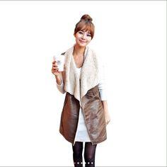Women Fleece Leather Coats Winter Warm Waistcoat Brand new Jackets & Coats Vests