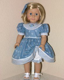 Handmade 18 inch Dress American Doll Clothes Blue Check Flo