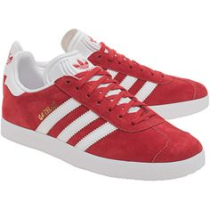 ADIDAS ORIGINALS Gazelle Red // Flat suede leather sneakers ($110) ❤ liked on Polyvore featuring shoes, sneakers, suede leather shoes, adidas originals sneakers, suede shoes, red shoes and red sneakers