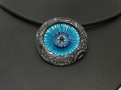 Statement Ketten - Statment 3D Halskette schwarz blau Polymer clay - ein Designerstück von filigran-Design bei DaWanda