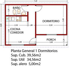 Vivienda 1D 39m2 Studio Floor Plans, Small House Floor Plans, Tyni House, Tiny House Cabin, Tiny House Layout, House Layouts, Small Space Interior Design, Small House Design, Bedroom House Plans