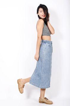 90s vintage denim maxi skirt check it out at www.EzzentricTopz.com  #fashion #vintage #1990s #denim #grunge #trend #fashionblog