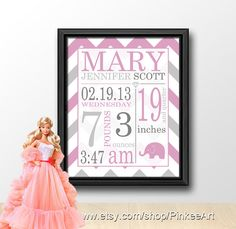 chevron birth stats wall art pink and grey, girl baby subway art, personalized birth stats, gift for new parents, baby birth print elephant, 8x10in or A4 or 11x14in, by PinkeeArt, $17.00