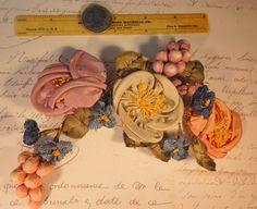 Vintage Ribbonwork  vintage ribbon flowers by DeborahsVintageAttic
