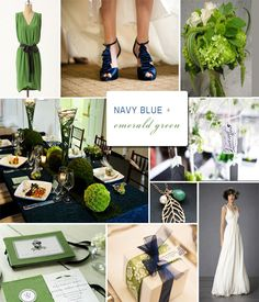 These two colors are a perfect pair leaving endless creativity in wedding design. We find adding a neutral color and simplistic patterns into this palette will provide additional versatility and break-up the heaviness emerald and navy may have when used together.