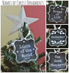 Names of Christ - free printable ornaments - (would be cute on small tree for Relief Society) Ward Christmas Party, Christmas Jesus, Christian Christmas, All Things Christmas, Christmas Holidays, Christmas Ideas, Christmas Ornaments, Homemade Christmas, Christmas Tree