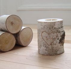 personalized natural white birch wood candle holder - carved heart & initials. $24.00, via Etsy.