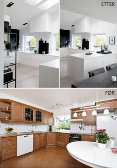 KITCHEN BEFORE AND AFTER - Therese Knutsen Cuisines Design, Black Kitchens, Apartment Living, Home And Living, Kitchen Island, Kitchen Design, New Homes, Black And White, Storage