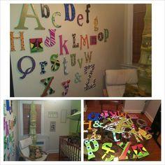 Nursery Alphabet Wall via Baby Shower Activity