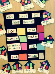 Great math activity to support I am Special-My Family. Children were required to cut out the correct color to represent the family members in their family and glue into their house shape.