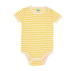 FUB </br> Baby s/s body ecru/yellow</br> Bio-Baumwolle Onesies, Bodysuit, Spring Summer, Yellow, Kids, Clothes, Fashion, Stripe Pattern, Moving Out