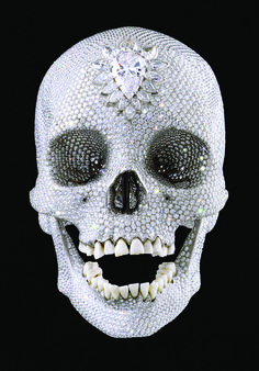 """Damian Hirst's """"For the Love of God"""" human skull with diamonds"""