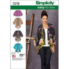 Simplicity Pattern 1318A Xxs-Xs-S-M-Misses Jackets Coats
