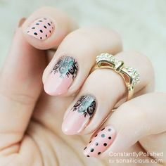 Polka Dot Nails with Lace || 8 Manicure Ideas for First Date: http://sonailicious.com/10-easy-manicure-ideas-first-date/