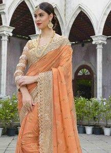Buy a wide range of designer saree. Order this thrilling satin embroidered and patch border work hot pink classic designer saree. Saree Wedding, Hot Pink, Sari, Orange, Classic, Stuff To Buy, Design, Fashion, Saree