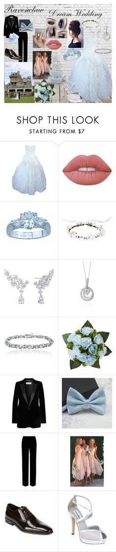 """Dream Wedding ~ Ravenclaw"" by makayleehwakins ❤ liked on Polyvore featuring Gerber, Vera Wang, Lime Crime, Plutus, Harry Winston, Effy Jewelry, Glitzy Rocks, Yves Saint Laurent, Roberto Cavalli and Versace"