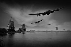 """16 May 1943: Wing Commander Guy Gibson, flying AJ-G (""""G - George""""), leads the first wave of Lancaster bombers over occupied Holland on the way to bomb the Ruhr dams in Operation Chastise"""