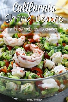 Light and refreshing, California Shrimp Ceviche recipe makes a perfect appetizer or meal on hot summer nights. A wonderful companion to healthy chips, stuffed in a lettuce leaf or on a tostada. We served this at our wedding reception and it was a HUGE hit Shrimp Ceviche, Ceviche Recipe, Fish Recipes, Seafood Recipes, Mexican Food Recipes, Cooking Recipes, Healthy Recipes, Salad Recipes, Mexican Desserts