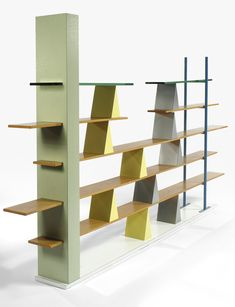 Andrea Branzi; Ash, Enameled Steel, Laminate and Glass 'Gritti' Bookshelf for Memphis, c1981.