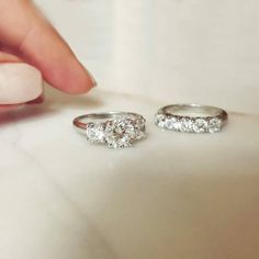 The Avior Setting and the Five Stone Claw Set Diamond Band. Naveya & Sloane engagement ring and wedding band, made to order in Auckland, New Zealand.