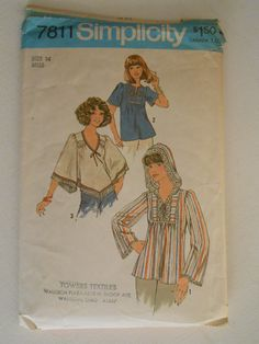 a6fd463028dd44 Vintage 70s Boho Top with Hood Pattern Simplicity 7811 Size 14 Bust 36